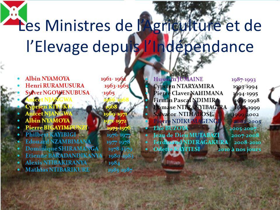 Les Ministres de l'Agriculture et de l'Elevage depuis l'Indépendance