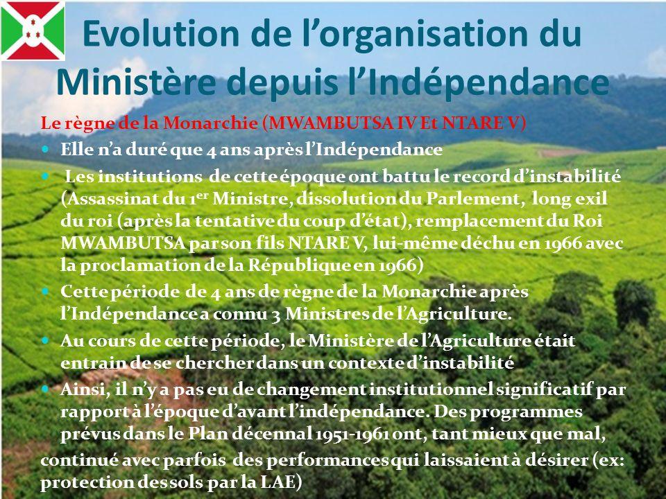 Evolution de l'organisation du Ministère depuis l'Indépendance