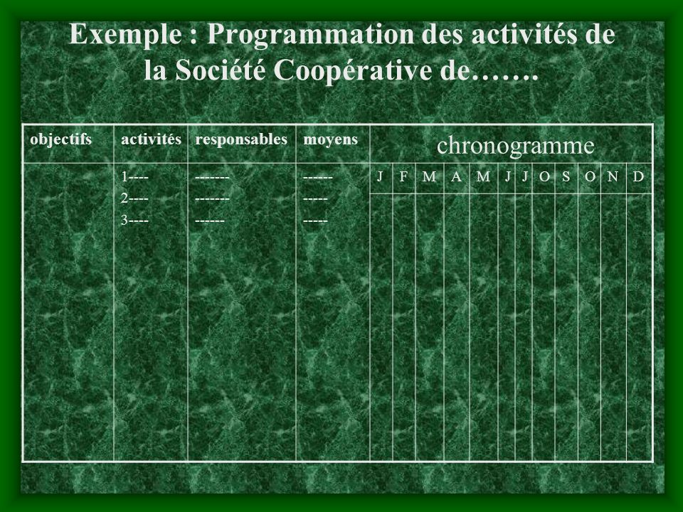 Exemple : Programmation des activités de la Société Coopérative de…….