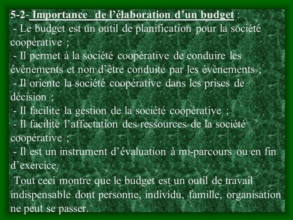 5-2- Importance de l'élaboration d'un budget : - Le budget est un outil de planification pour la société coopérative ; - Il permet à la société coopérative de conduire les évènements et non d'être conduite par les évènements ; - Il oriente la société coopérative dans les prises de décision ; - Il facilite la gestion de la société coopérative ; - Il facilite l'affectation des ressources de la société coopérative ; - Il est un instrument d'évaluation à mi-parcours ou en fin d'exercice.