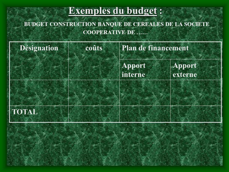 Exemples du budget : BUDGET CONSTRUCTION BANQUE DE CEREALES DE LA SOCIETE COOPERATIVE DE ……