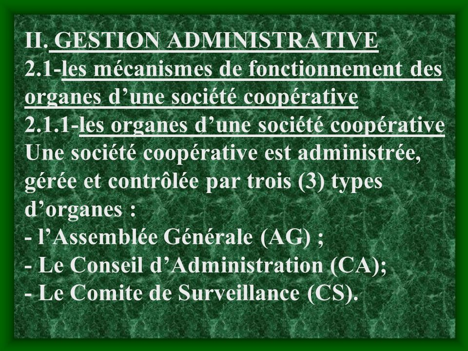 II. GESTION ADMINISTRATIVE 2