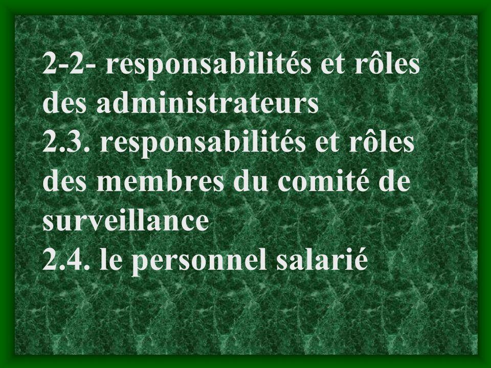2-2- responsabilités et rôles des administrateurs 2. 3