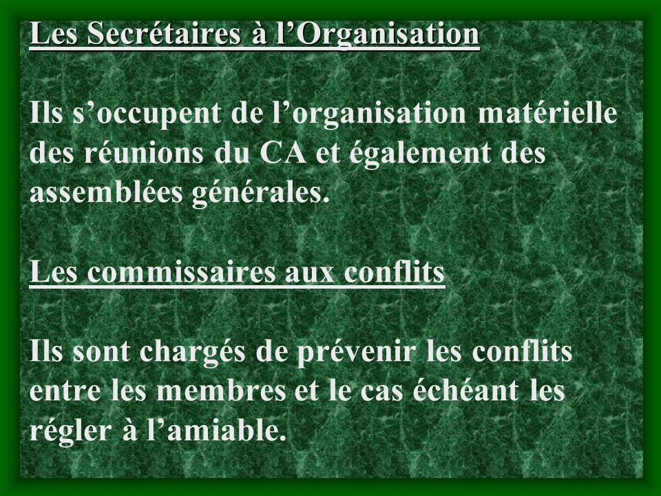 Les Secrétaires à l'Organisation Ils s'occupent de l'organisation matérielle des réunions du CA et également des assemblées générales.