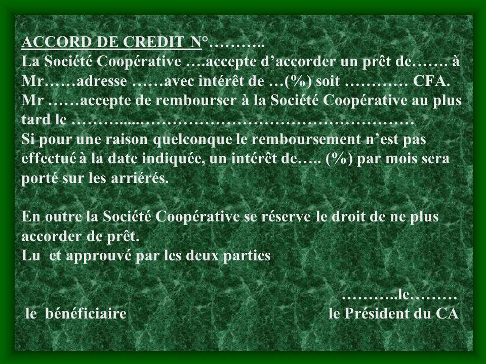 ACCORD DE CREDIT N°………. La Société Coopérative …