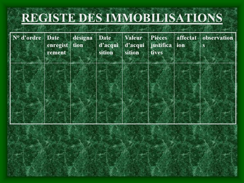 REGISTE DES IMMOBILISATIONS