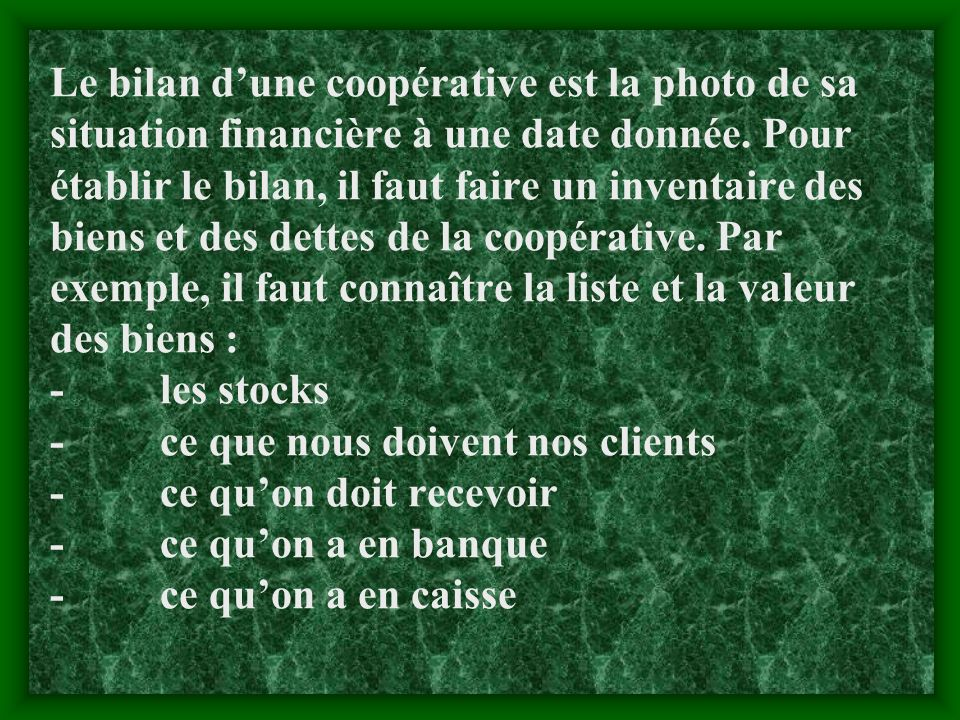 Le bilan d'une coopérative est la photo de sa situation financière à une date donnée.