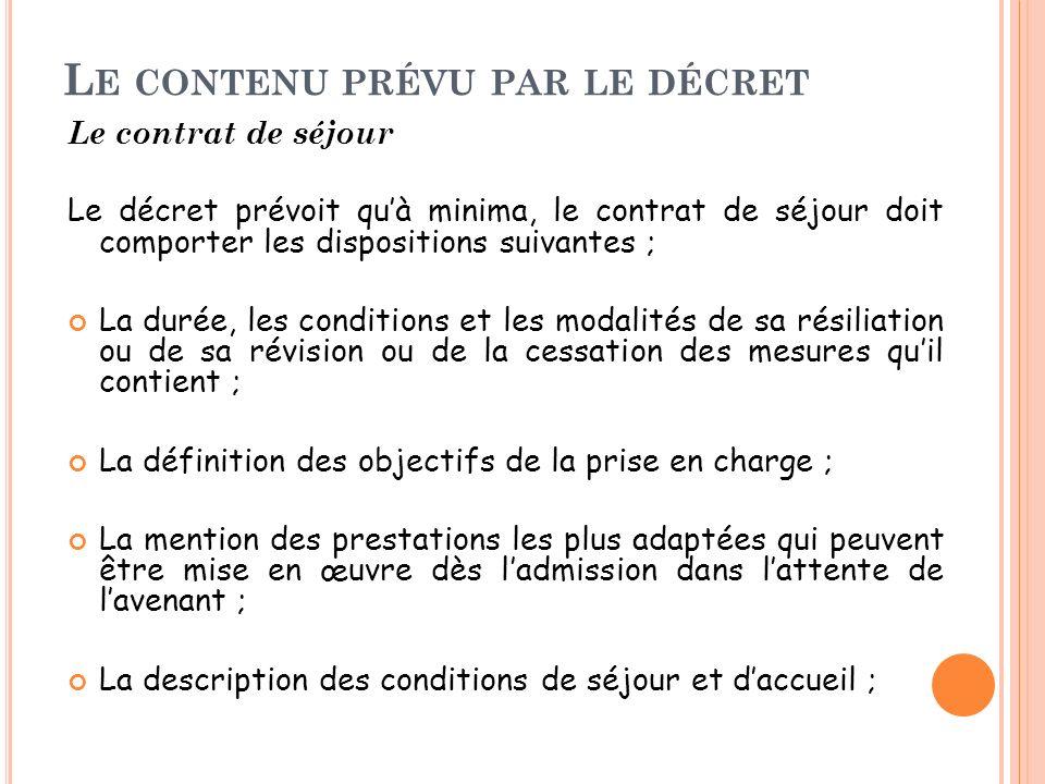 Le contenu prévu par le décret