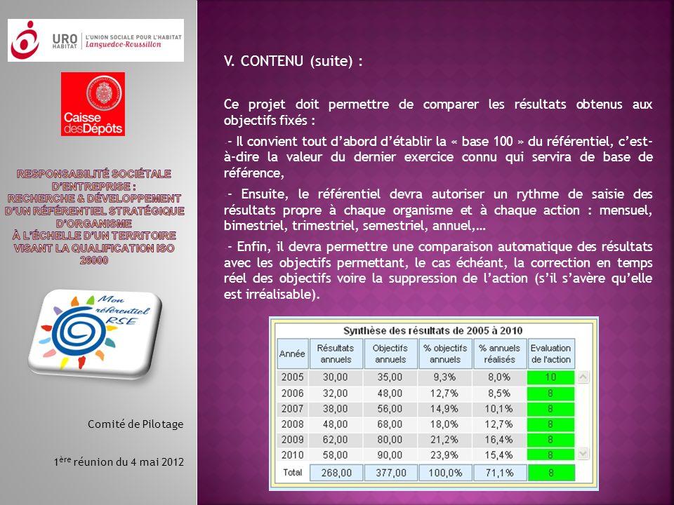 V. CONTENU (suite) : Ce projet doit permettre de comparer les résultats obtenus aux objectifs fixés :