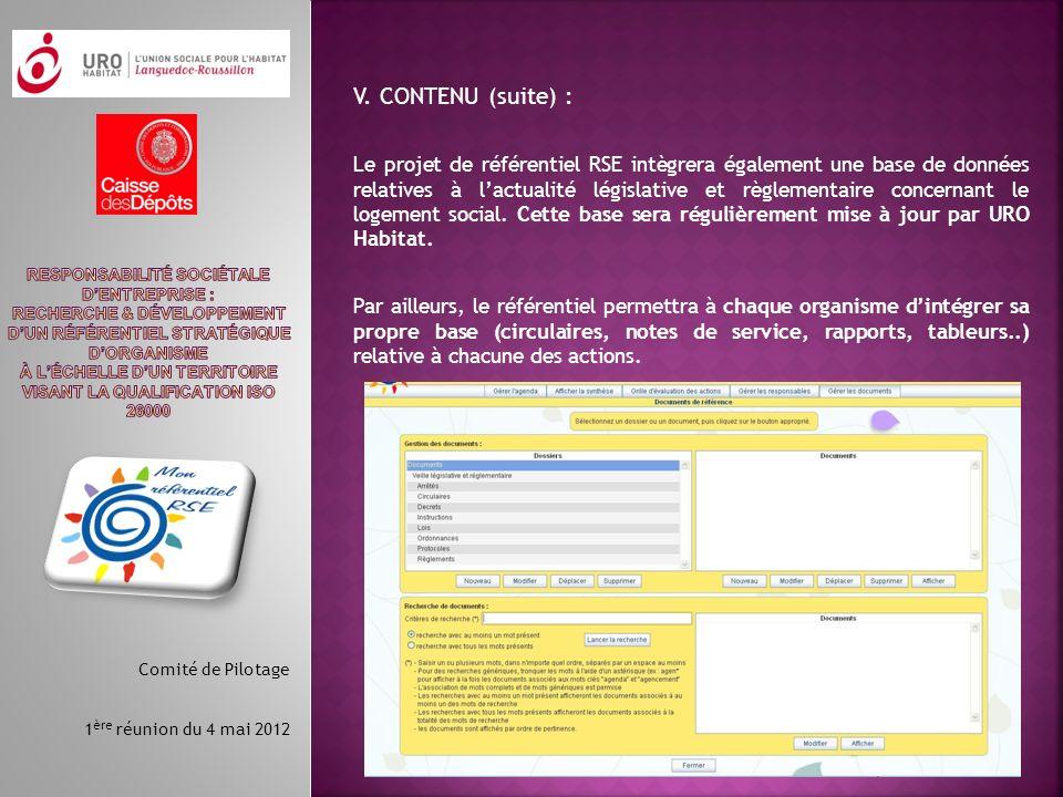 V. CONTENU (suite) :