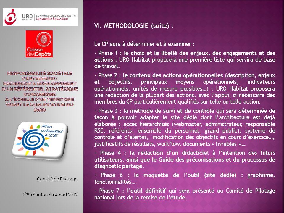 VI. METHODOLOGIE (suite) :