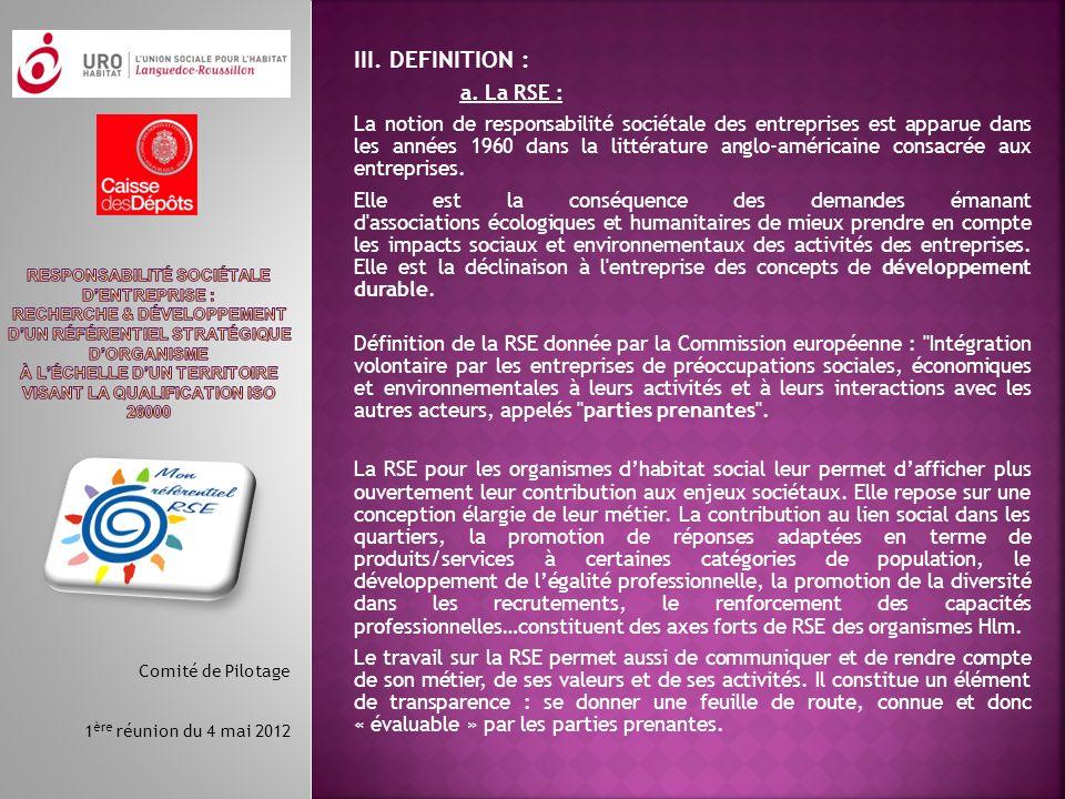 III. DEFINITION : a. La RSE :