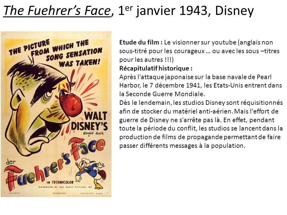 The Fuehrer's Face, 1er janvier 1943, Disney