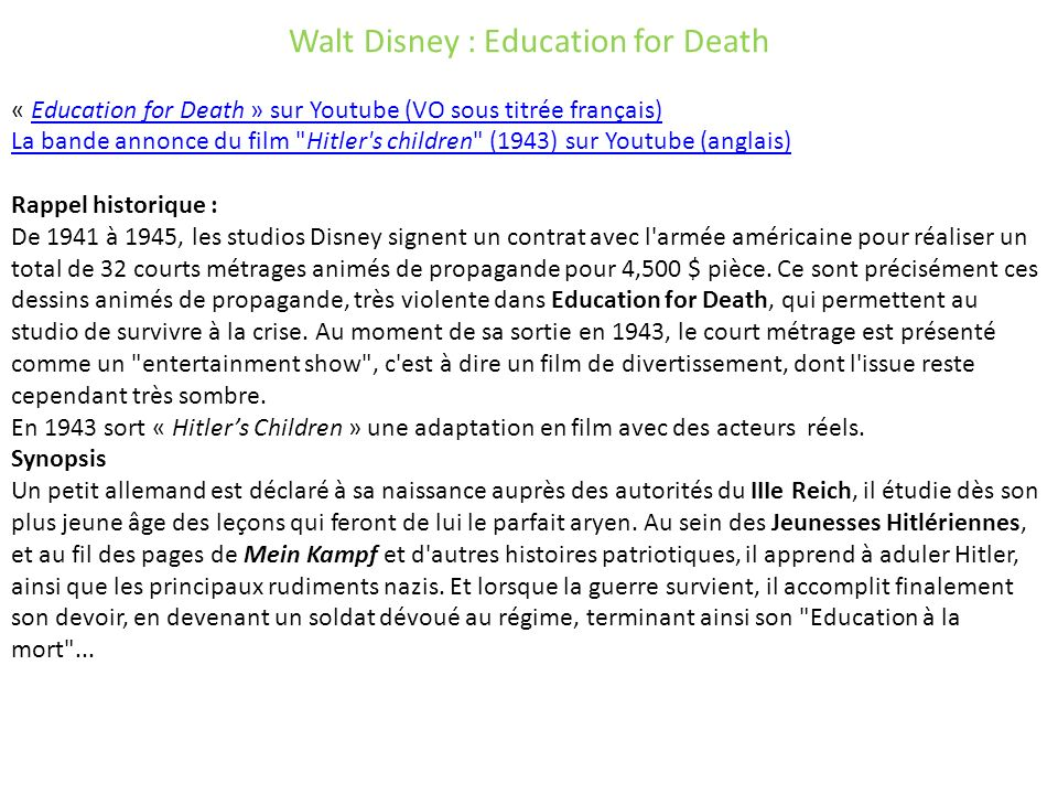 Walt Disney : Education for Death