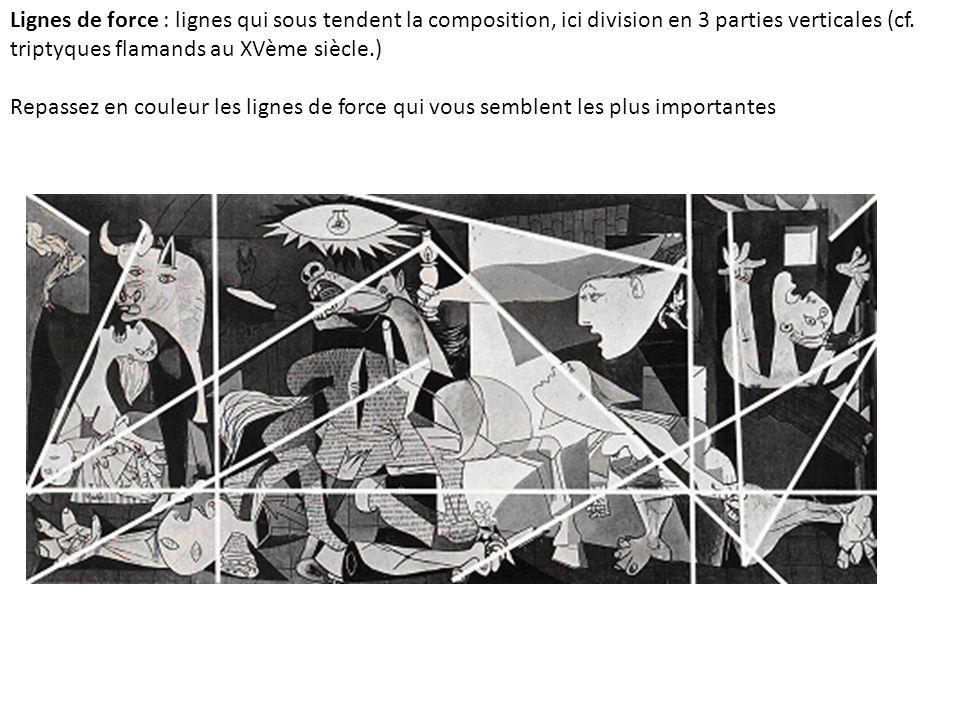 Lignes de force : lignes qui sous tendent la composition, ici division en 3 parties verticales (cf. triptyques flamands au XVème siècle.)