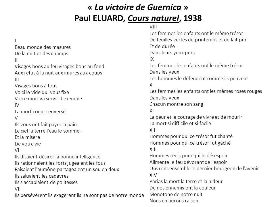 « La victoire de Guernica » Paul ELUARD, Cours naturel, 1938