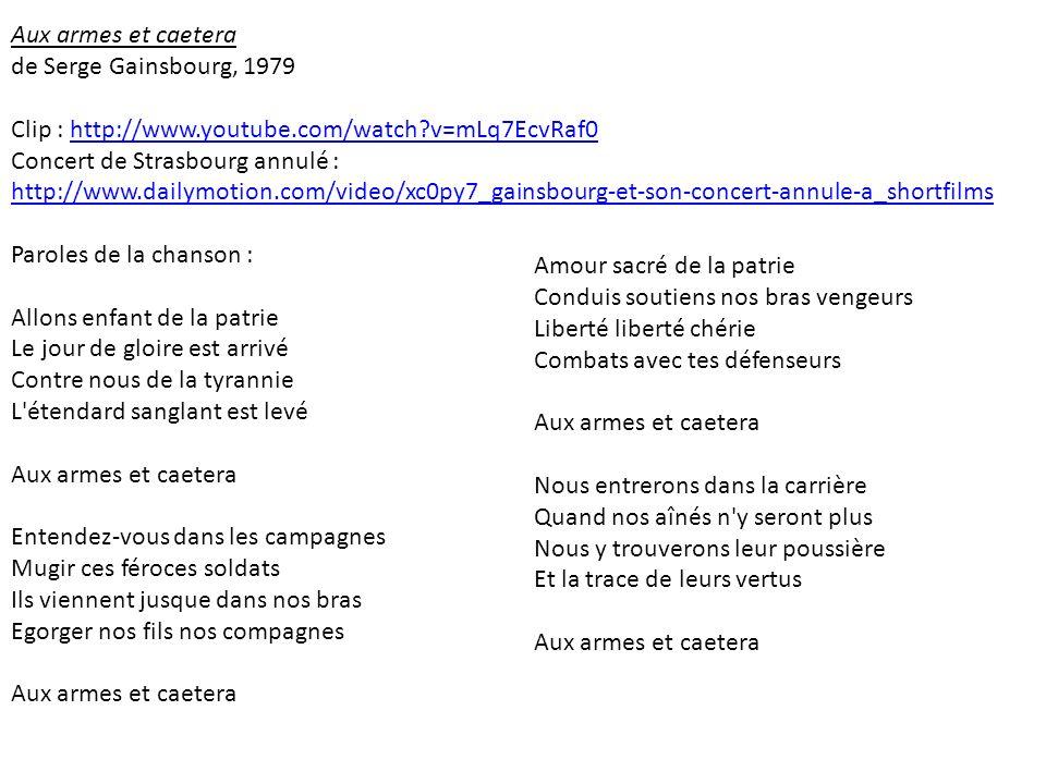 Aux armes et caetera de Serge Gainsbourg, 1979