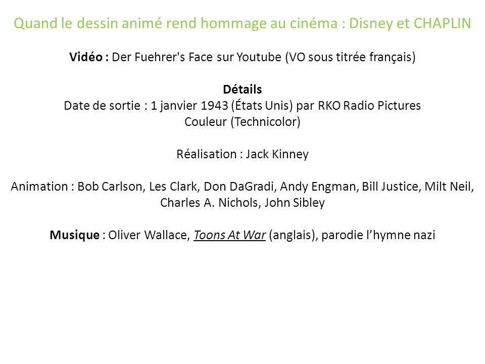 Quand le dessin animé rend hommage au cinéma : Disney et CHAPLIN