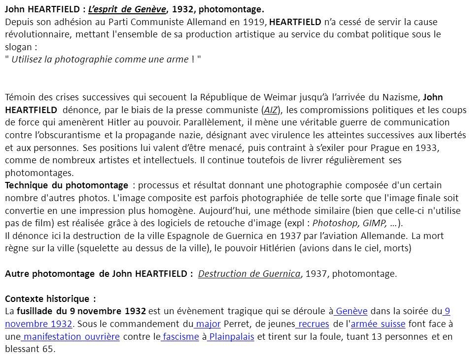 John HEARTFIELD : L'esprit de Genève, 1932, photomontage.