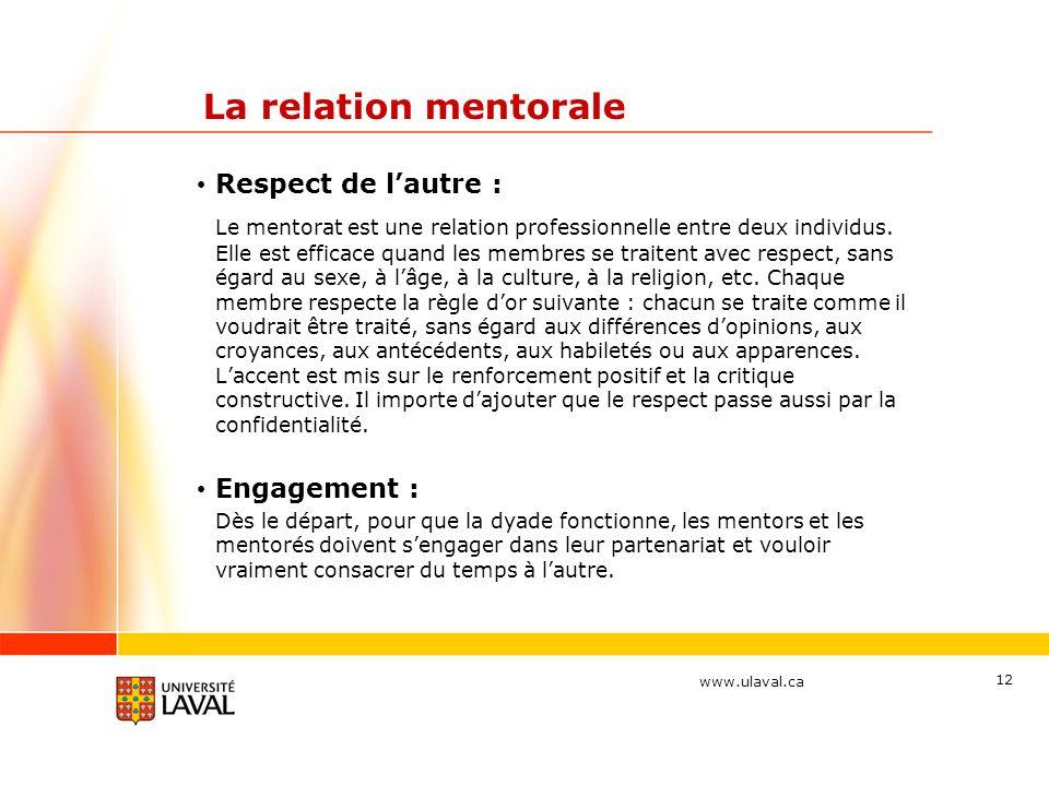 La relation mentorale Respect de l'autre :