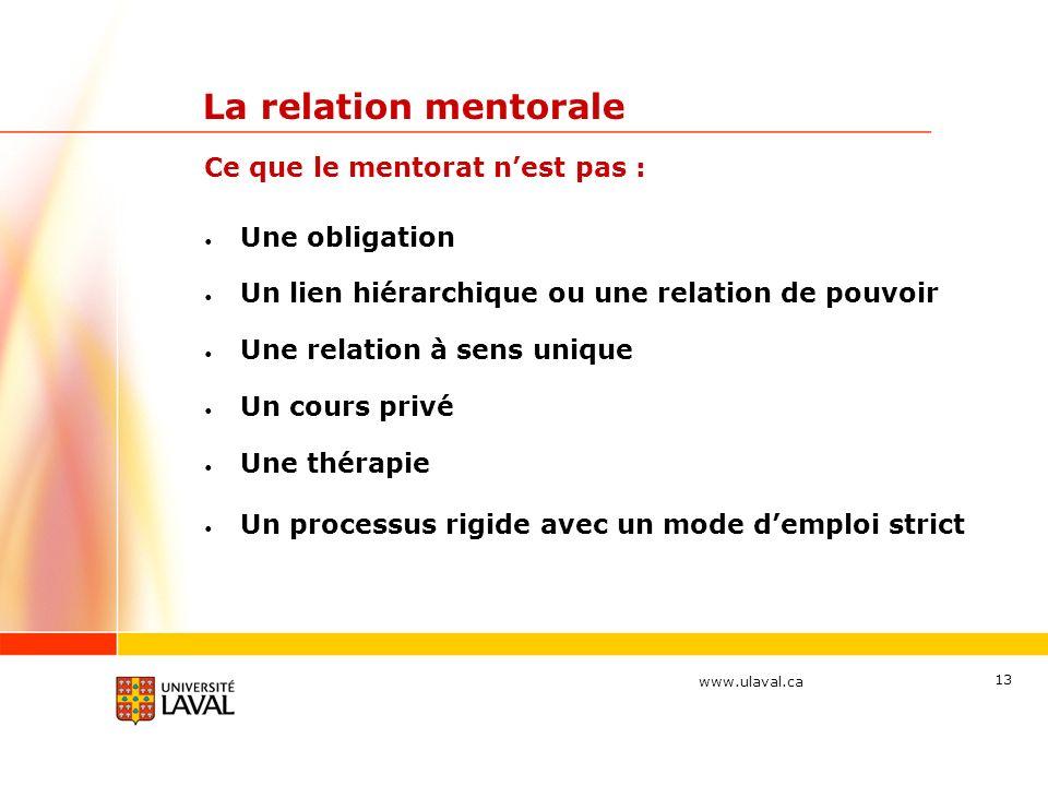 La relation mentorale Ce que le mentorat n'est pas : Une obligation