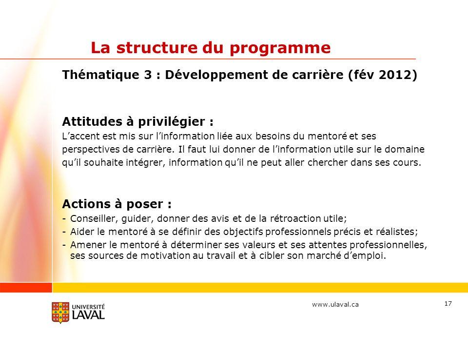 La structure du programme
