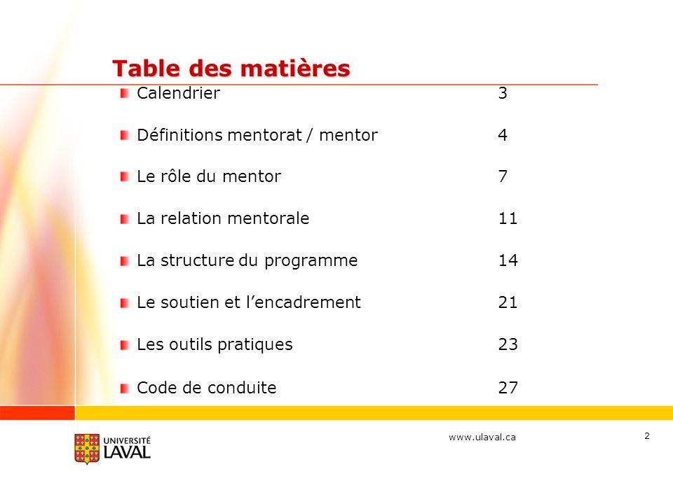Table des matières Calendrier 3 Définitions mentorat / mentor 4