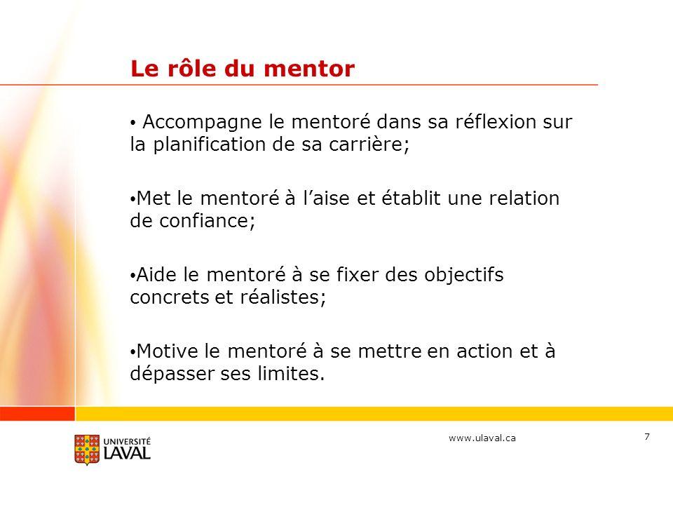 Le rôle du mentor Accompagne le mentoré dans sa réflexion sur la planification de sa carrière;