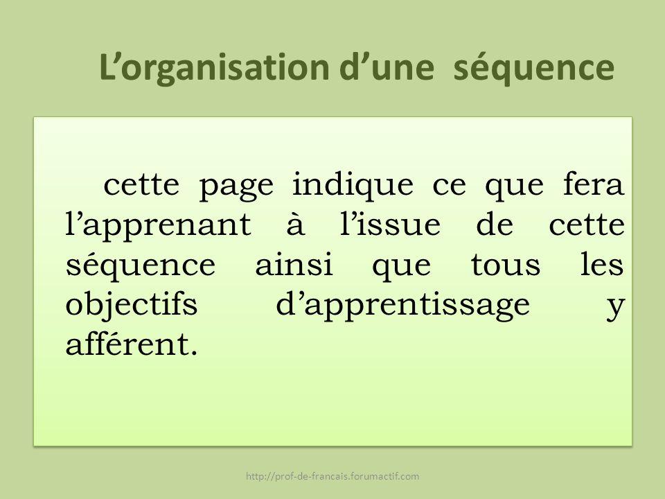L'organisation d'une séquence