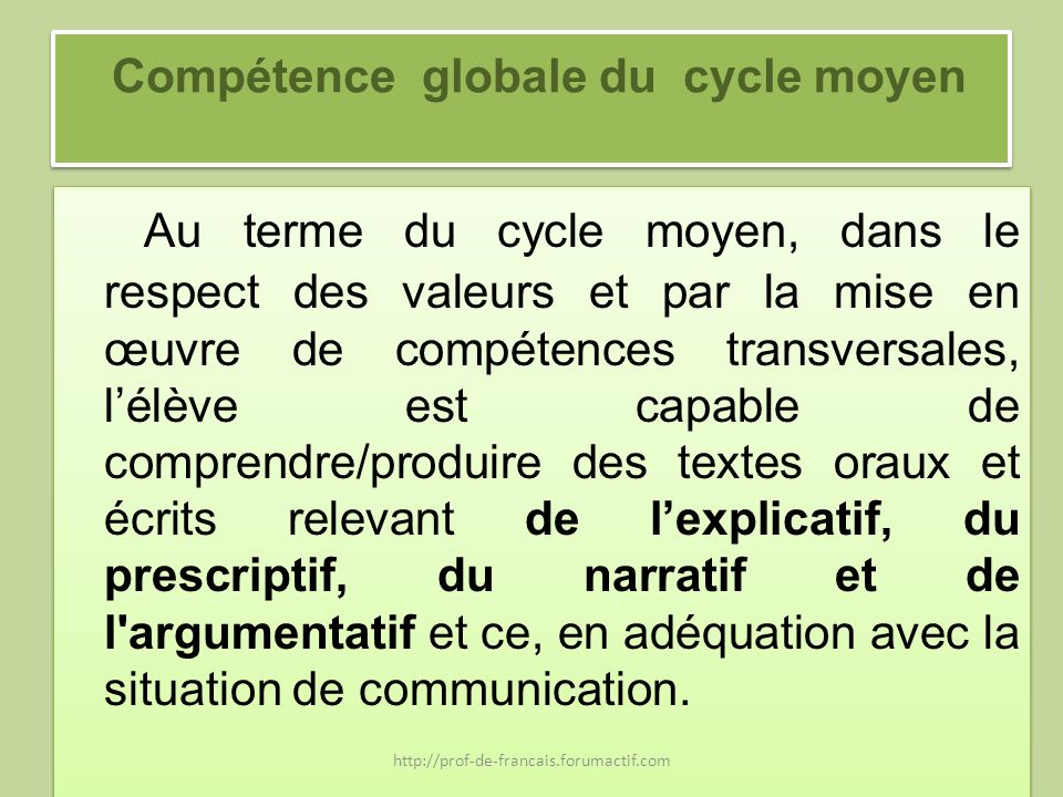 Compétence globale du cycle moyen