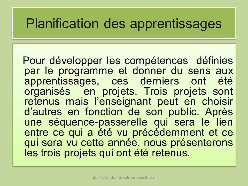 Planification des apprentissages