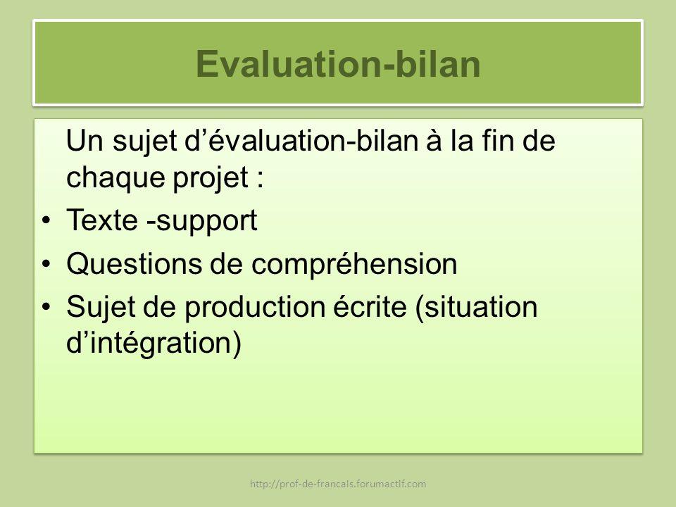 Evaluation-bilan Un sujet d'évaluation-bilan à la fin de chaque projet : Texte -support. Questions de compréhension.