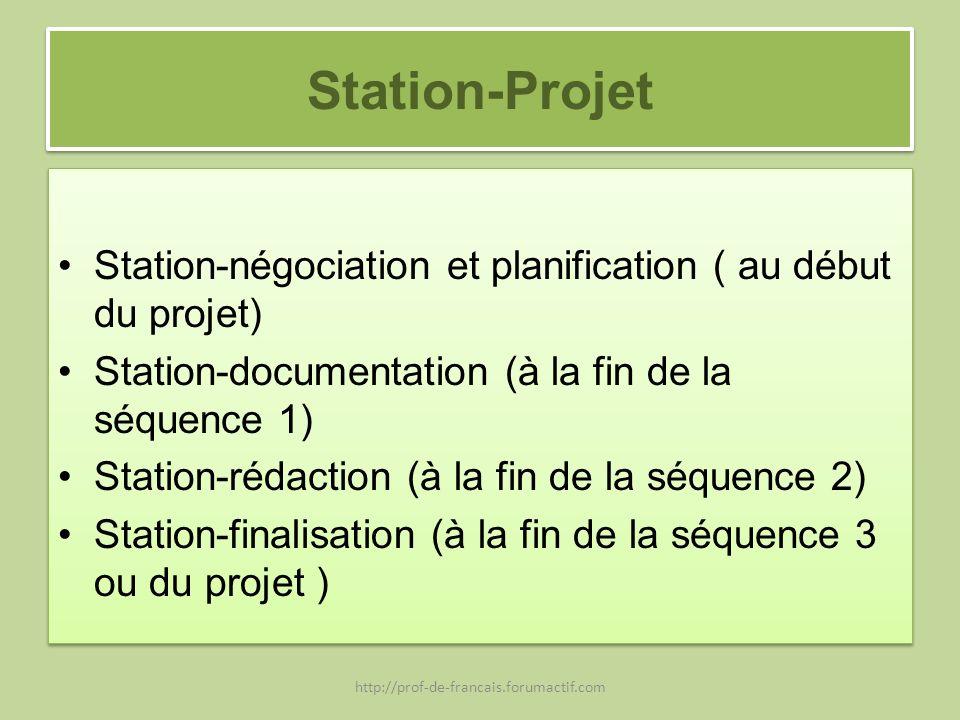 Station-Projet Station-négociation et planification ( au début du projet) Station-documentation (à la fin de la séquence 1)