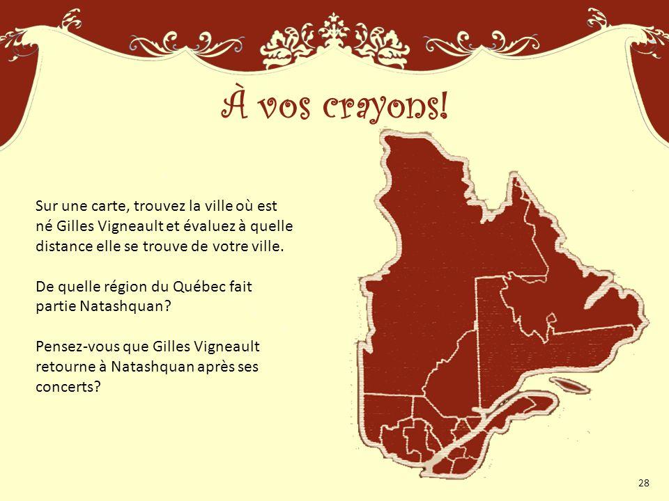 À vos crayons! Sur une carte, trouvez la ville où est né Gilles Vigneault et évaluez à quelle distance elle se trouve de votre ville.