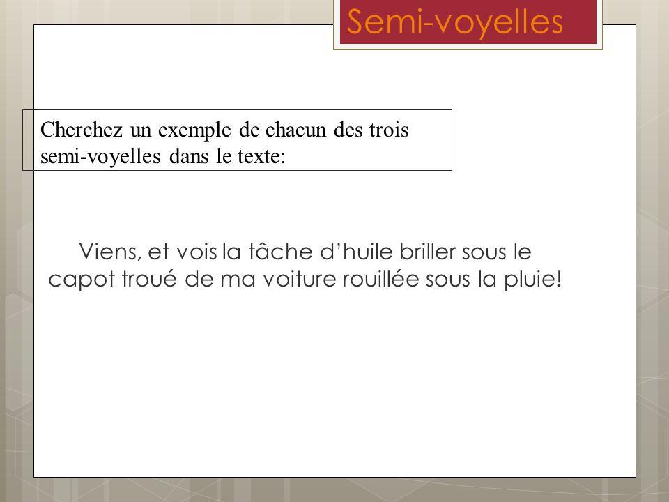 Semi-voyelles Cherchez un exemple de chacun des trois semi-voyelles dans le texte: