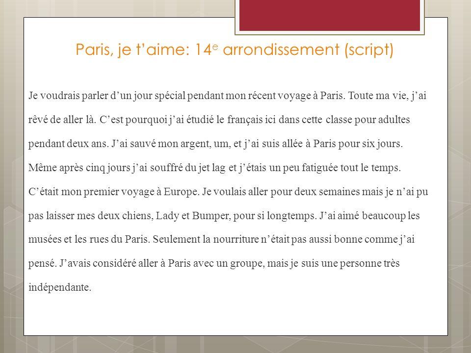 Paris, je t'aime: 14e arrondissement (script)