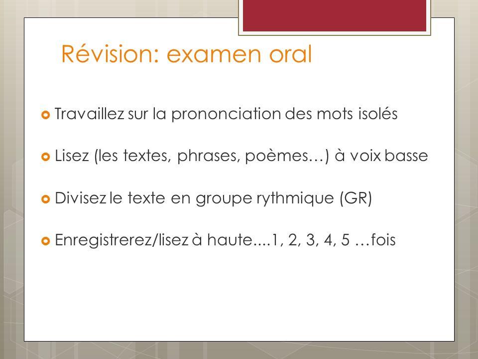 Révision: examen oral Travaillez sur la prononciation des mots isolés