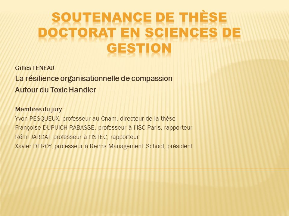 Soutenance de thèse Doctorat en sciences de gestion