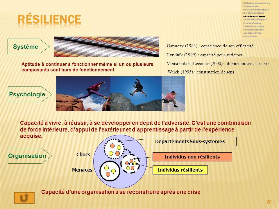 Départements Sous-systèmes Individus non résilients