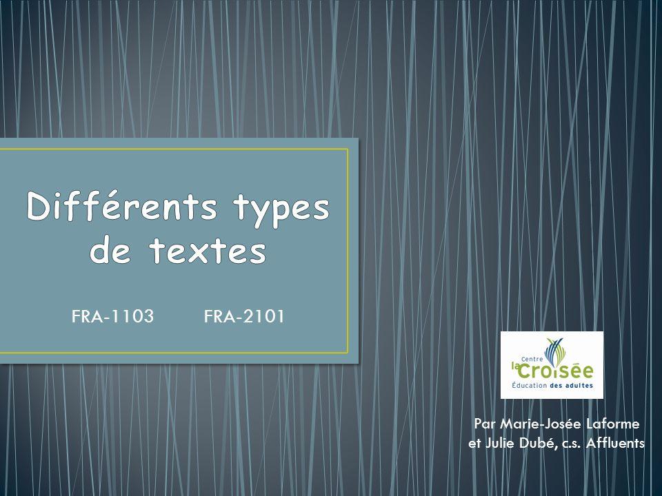 Différents types de textes