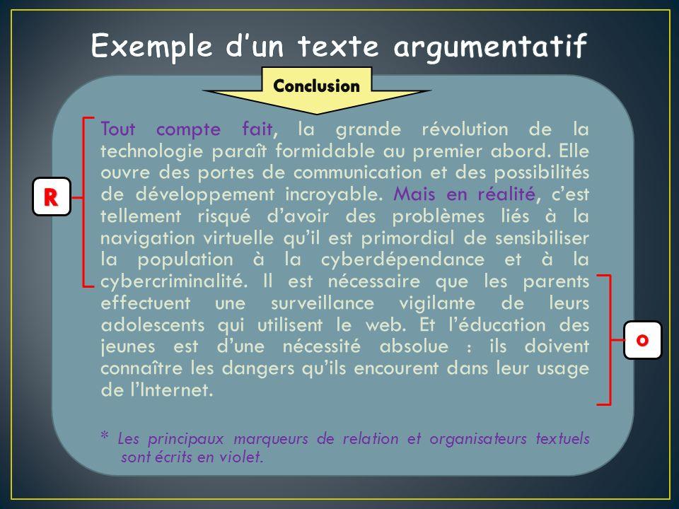 Exemple d'un texte argumentatif