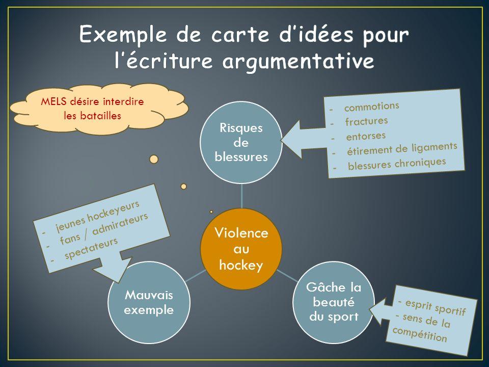 Exemple de carte d'idées pour l'écriture argumentative