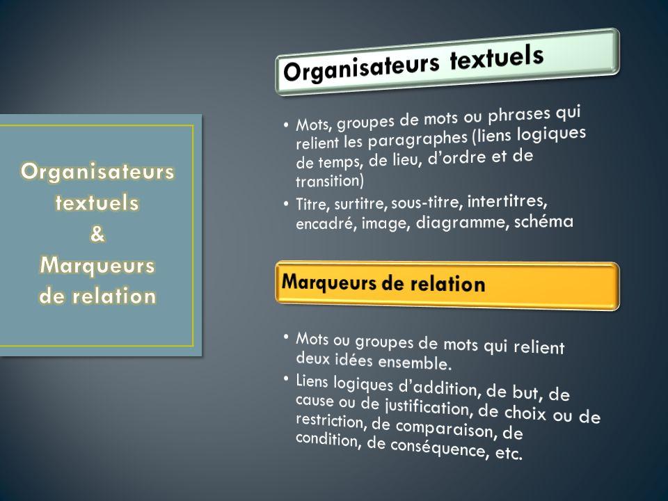 Organisateurs textuels & Marqueurs de relation