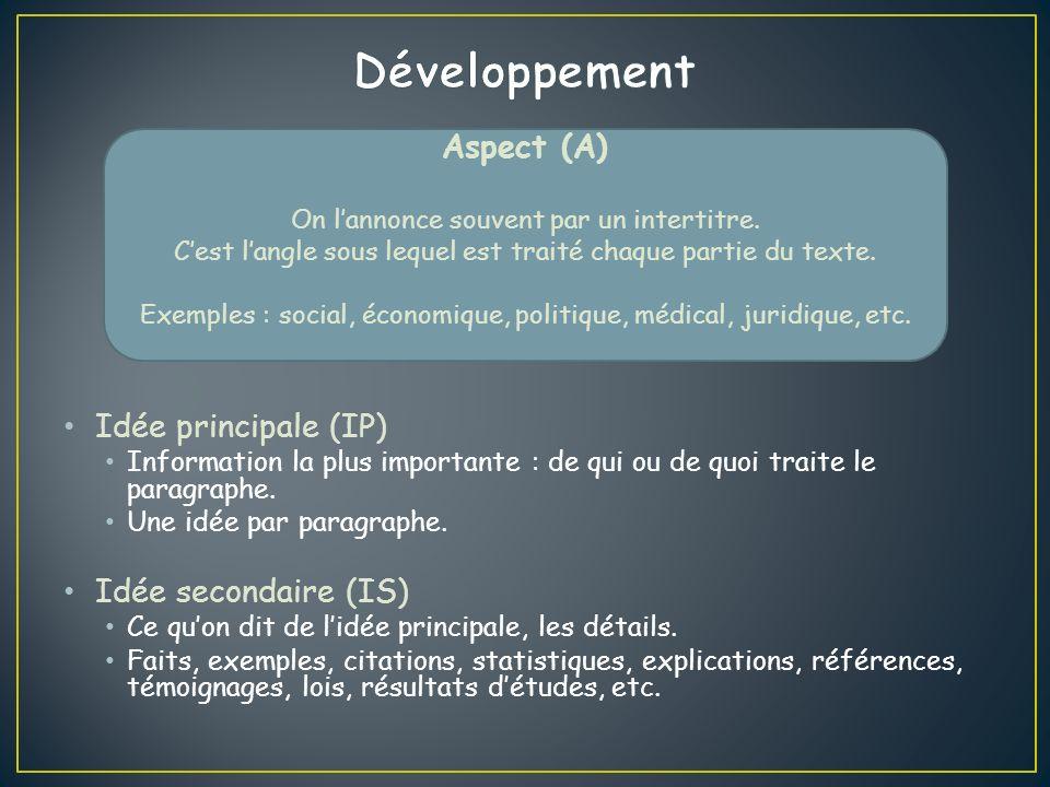 Développement Aspect (A) Idée principale (IP) Idée secondaire (IS)