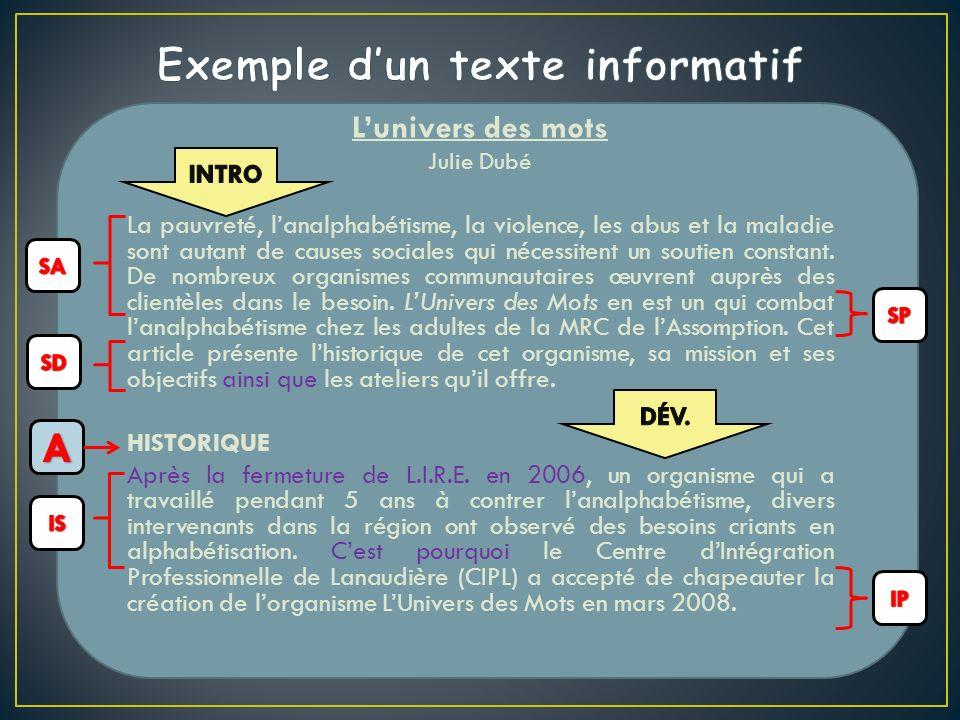 Exemple d'un texte informatif