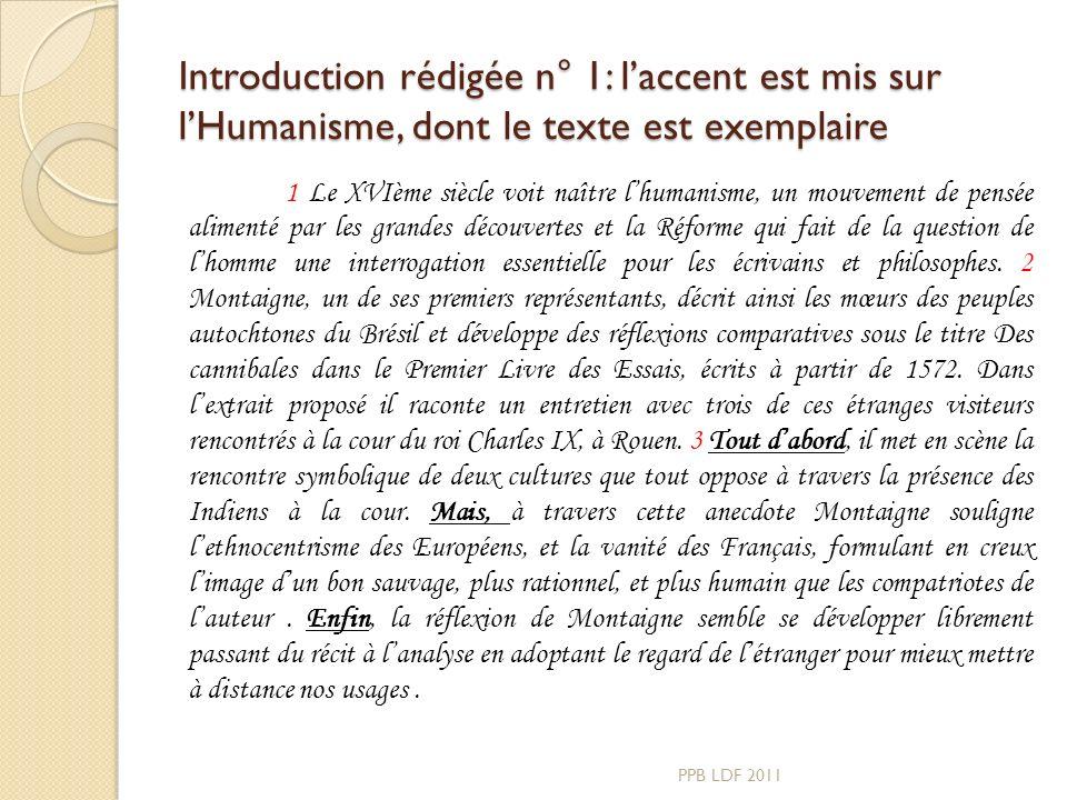 Introduction rédigée n° 1: l'accent est mis sur l'Humanisme, dont le texte est exemplaire