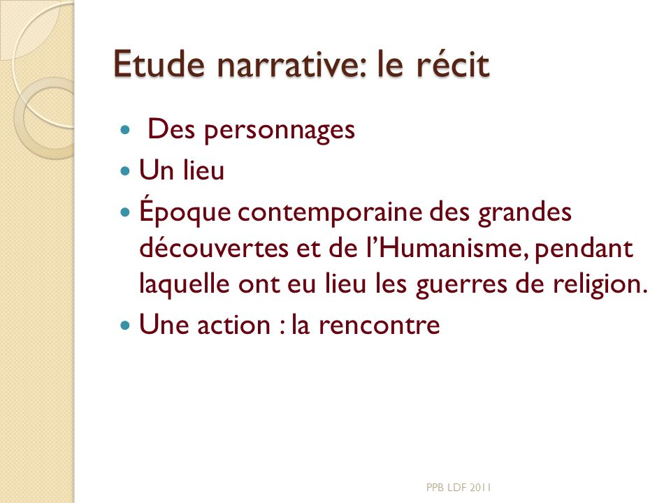Etude narrative: le récit