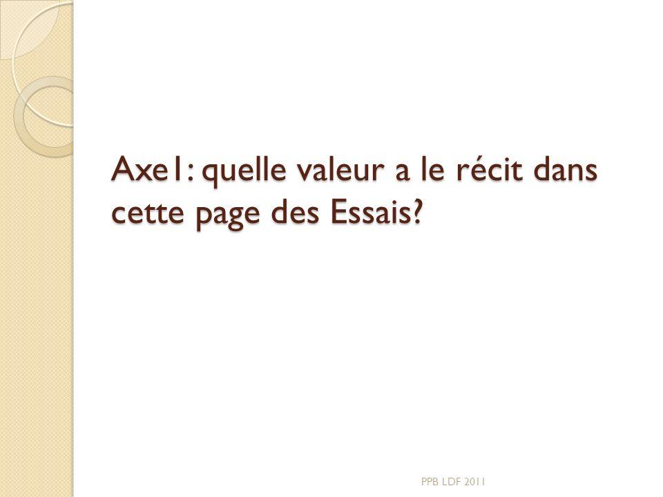 Axe1: quelle valeur a le récit dans cette page des Essais