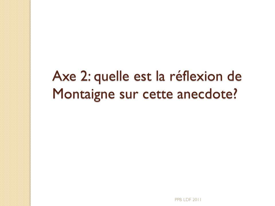 Axe 2: quelle est la réflexion de Montaigne sur cette anecdote