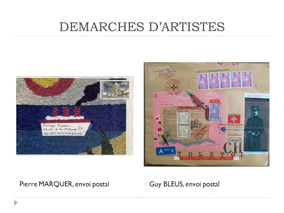 DEMARCHES D'ARTISTES Pierre MARQUER, envoi postal